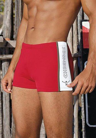 Boxer-Badehose, Chiemsee in rot