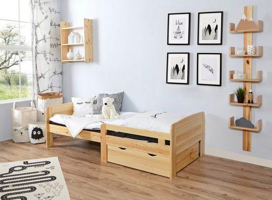 Ticaa Ausziehbett »Clara«, mitwachsendes Kinderbett, mit Rollrost und Matratze