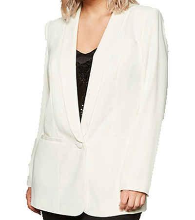 Sheego Longblazer »sheego x Miyabi Kawa Long-Blazer elegantes Damen Jackett im Smokingstil Große Größen Sakko Weiß«