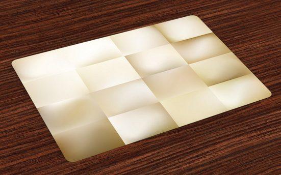 Tischdecke, »Waschbare Stoff Esszimmer Küche Tischdekorations Digitaldruck«, Abakuhaus, (4-teilig, 4 Teilig-St., Set aus 4x), Geometrisch Abstrakt Platz Shady