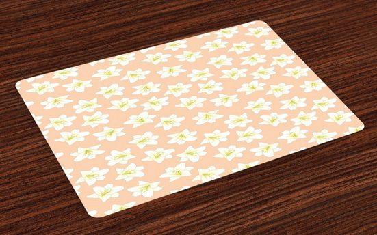 Tischdecke, »Waschbare Stoff Esszimmer Küche Tischdekorations Digitaldruck«, Abakuhaus, (4-teilig, 4 Teilig-St., Set aus 4x), Blumen Abstrakt Madonnen-Lilie