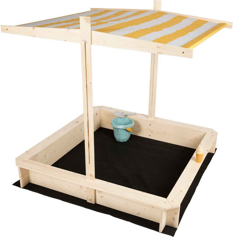 needs&wants® Sandkasten »mit Dach Sitzbank und Boden Vlies-Folie, Sandkiste Holz rechteckig mit Bänken Outdoor Garten Terrasse für Kinder UV-Sonnenschutz, 120x120 cm, Kiefer, gelb weiß braun«