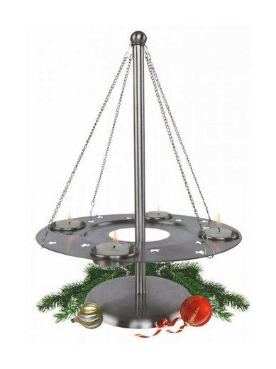 dynamic24 Adventskranz, Edelstahl Teelichthalter Kranz Weihnachten Deko