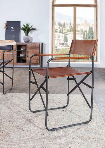 Gutmann Factory Klappstuhl, aus Büffelleder, zusammenklappbarer Esszimmerstuhl, Regiestuhl