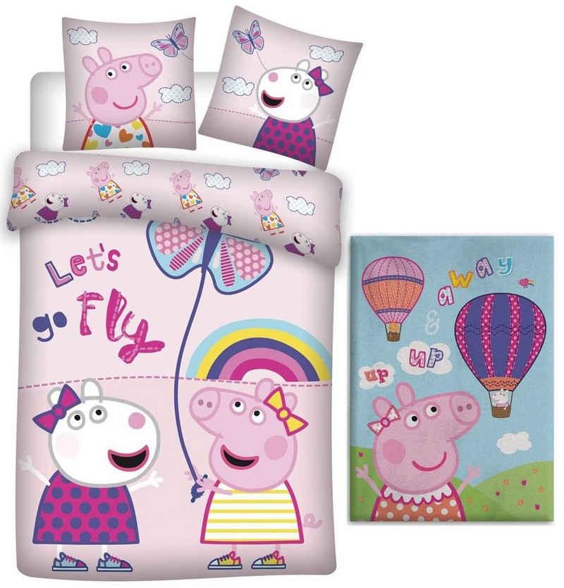 Babybettwäsche »Peppa Pig Wutz - Baby-Bettwäsche-Set, 100x135 und Fleecedecke, 100x140«, Peppa Pig, 100% Baumwolle