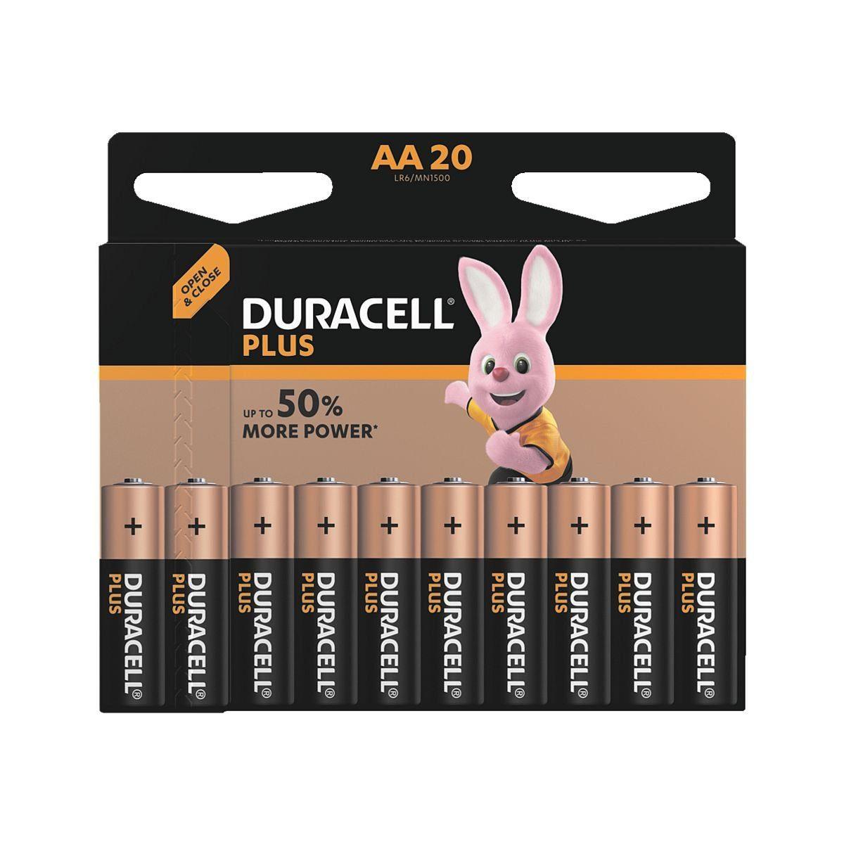 Duracell 20er-Pack Batterien »Plus Power« Mignon / AA / LR06