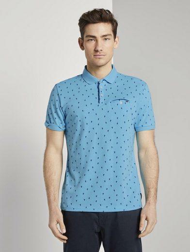 TOM TAILOR Poloshirt »Poloshirt im Allover-Print mit Paspeltasche«
