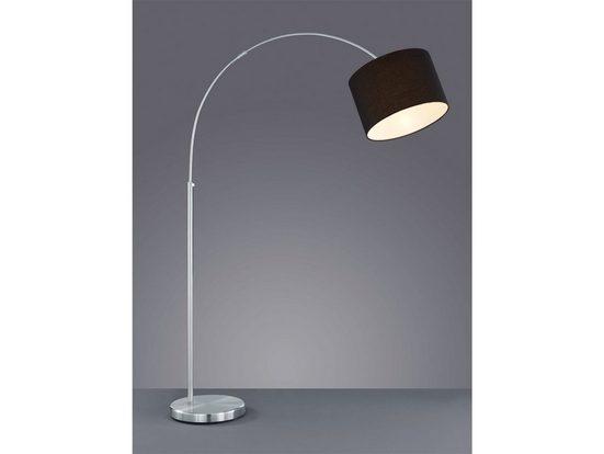 meineWunschleuchte LED Bogenlampe, Designer Bauhaus Lampe, Lampenschirm-e Stoff, Schwarz, Große Bogen Stehlampe, mit Fußschalter