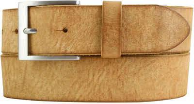 Brazil Lederwaren Ledergürtel »Herren-Gürtel aus weichem Vollrindleder Vintage-Look 4 cm - Jeans-Gürtel für Herren 40mm - Ledergürtel Used-Look« weiches Leder, Gürtelschnalle in Altsilber, Vintage