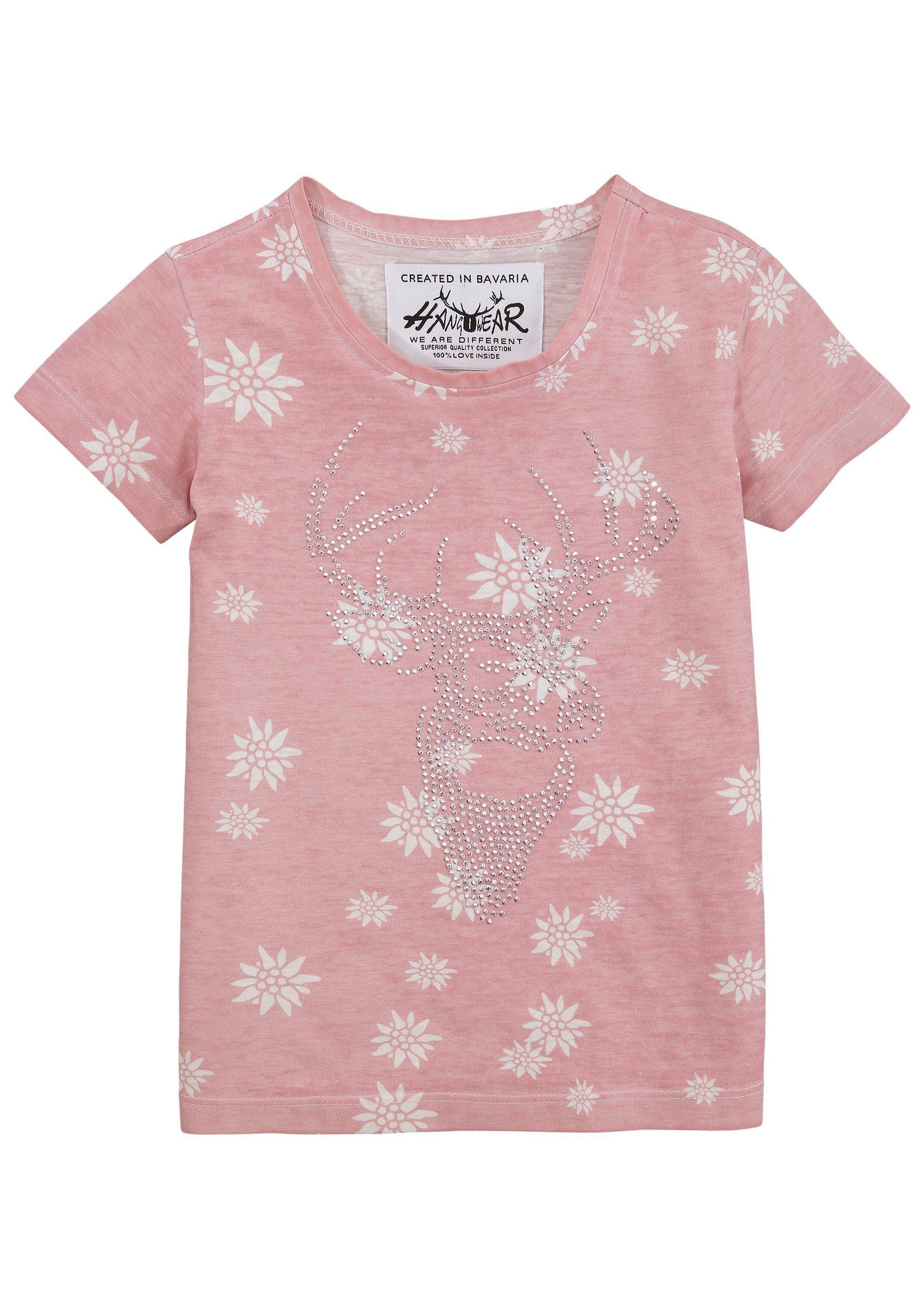 Damen,  Kinder Hangowear Trachtenshirt Kinder mit Motiv aus Strass-Steinen  | 04251363619545