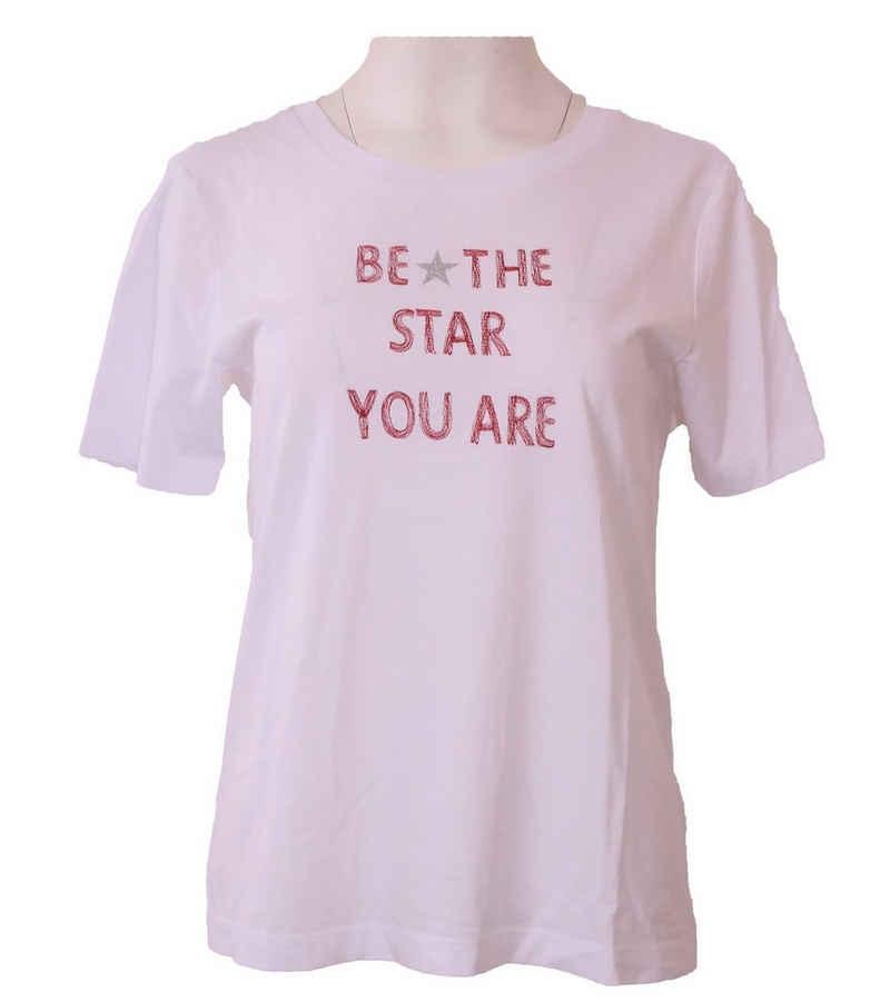 Margittes T-Shirt »MARGITTES T-Shirt modisches Damen Baumwoll-Shirt mit Statement Sommer-Shirt Weiß«