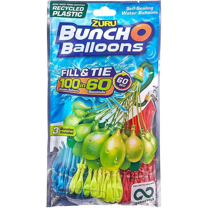 ZURU Wasserbombe »Bunch o Balloons«, 100 Wasserbomben für Kinder, selbst verschließend, ohne Knoten, aus recycelbaren Materialien, Wasserspielzeug, mehrfarbig