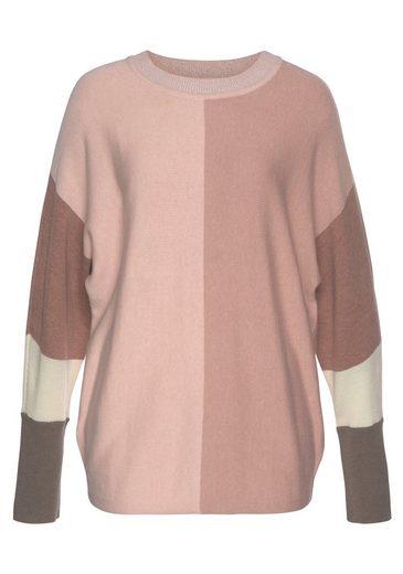 Boysen's Rundhalspullover mit modischem Pastel-Colorblocking