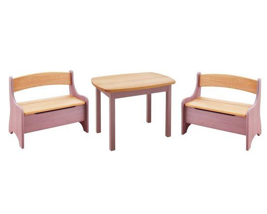 BioKinder - Das gesunde Kinderzimmer Kindersitzgruppe »Levin«, mit Tisch und zwei Sitzbänken, Sitzhöhe 30 cm