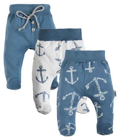 Makoma Schlupfhose »Baby Hose mit Fuß Strampelhose für Neugeborene Jungen & Mädchen Blue Sea« (Set, 3er-Pack) 100% Baumwolle
