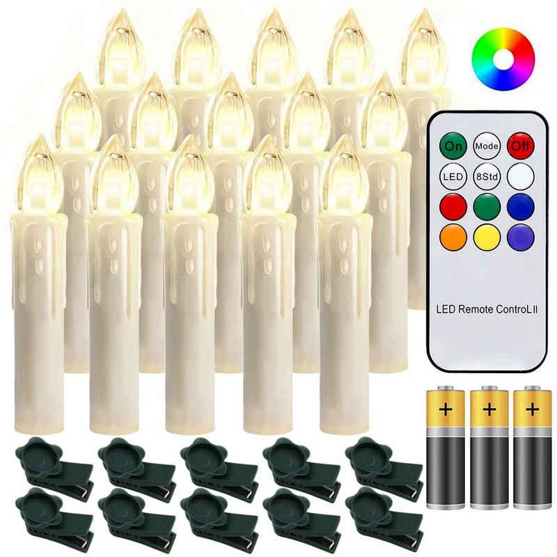 Einfeben LED-Christbaumkerzen »10-100x LED Weihnachtskerzen kabellose Weihnachtsbeleuchtung Kerzen Party Warmweiß+RGB Mit Batterie«