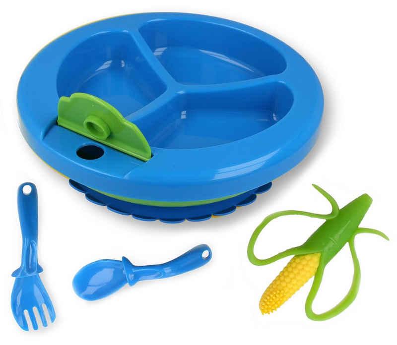 Lantelme Teller »Warmhalteteller Kinder- Babyteller«, (4 Stück), Beißring, ergonomisches Besteck