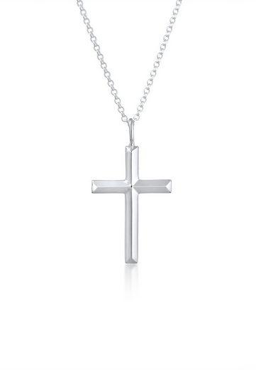 Kuzzoi Silberkette »Herren Erbskette Kreuz Oxidiert Massiv 925 Silber«, Kreuz