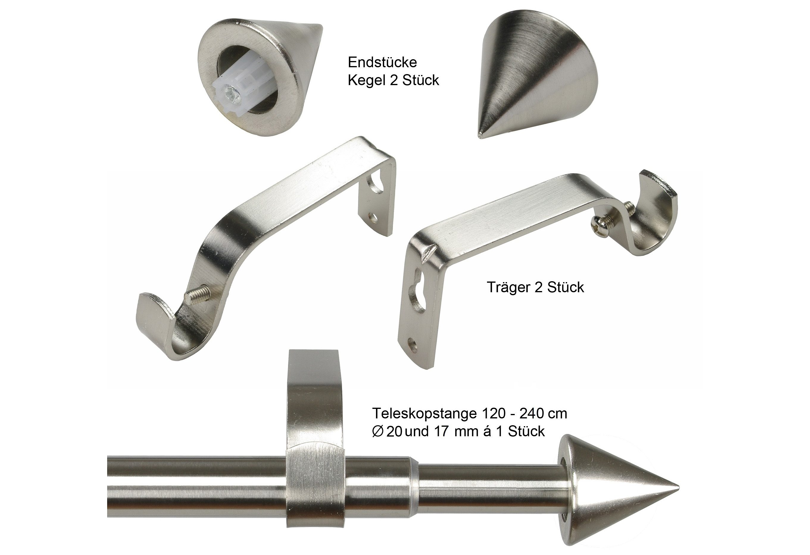Gardinenstange, Liedeco, »Kegel Ø 20 mm«, ausziehbar, im Fixmaß
