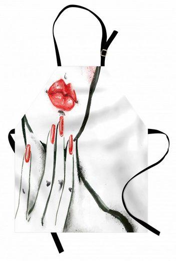 Abakuhaus Kochschürze »Höhenverstellbar Klare Farben ohne verblassen«, Lippen Rote Nägel und Blushed Cheeks