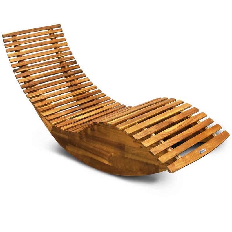 Casaria Gartenliege FSC®-zertifiziertes Akazienholz Ergonomisch Wippfunktion Gartenliege Sonnenliege Relaxliege Saunaliege Schaukelliege