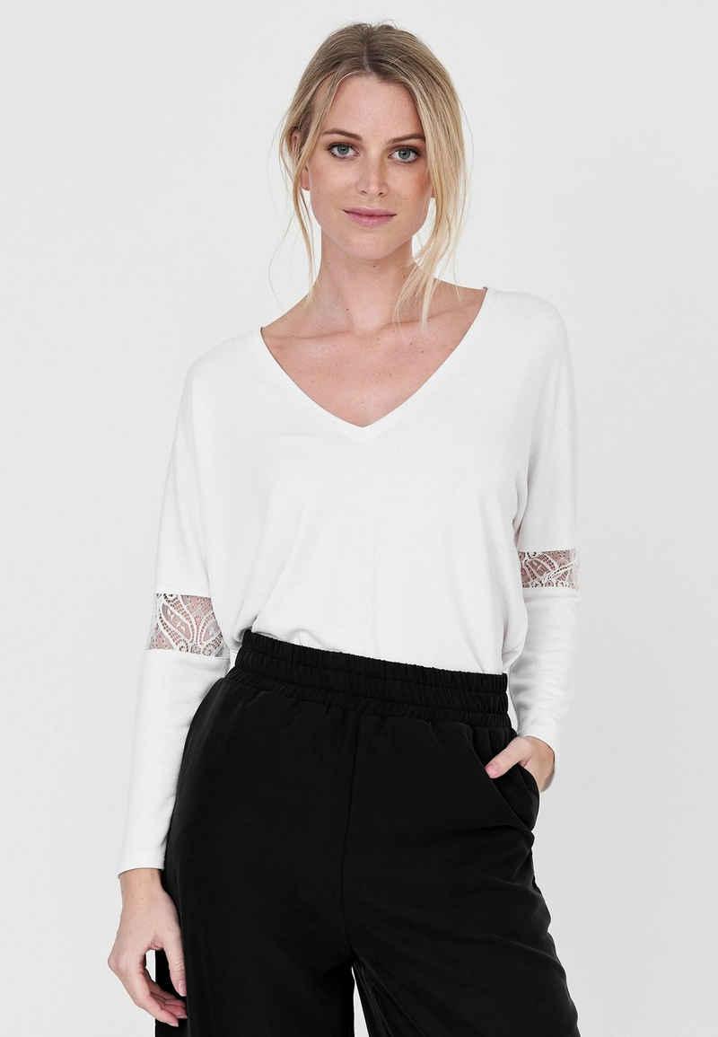 Cotton Candy Langarmshirt mit transparenten Einsätzen
