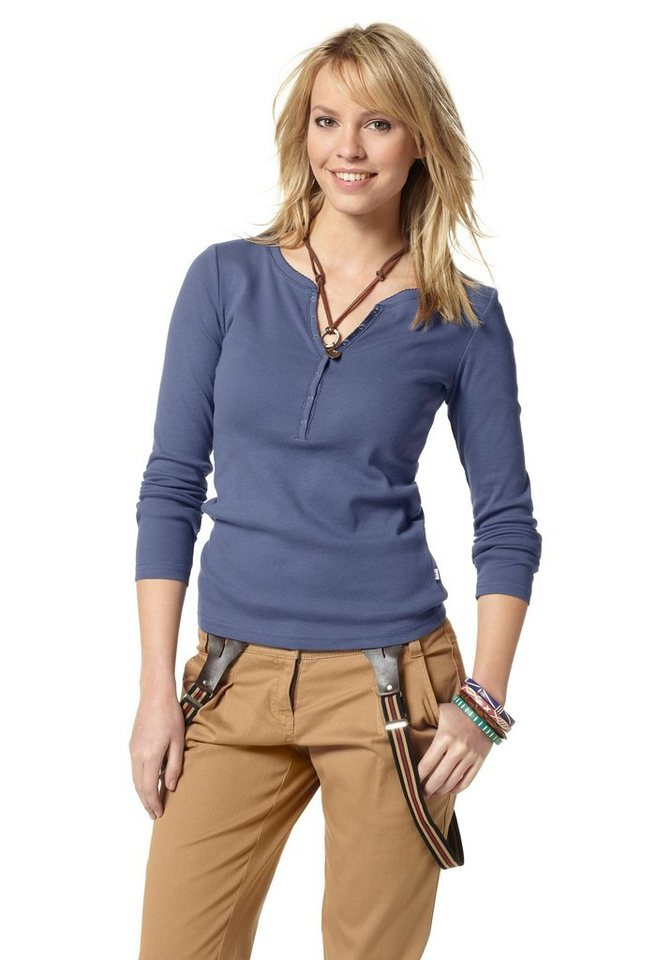 Flashlights Langarmshirt mit Knopfleiste in marine