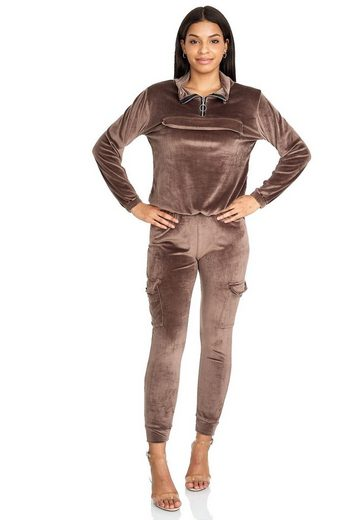 Egomaxx Trainingsanzug »3474«, Damen Velour Yoga Sportanzug Nicki Samt Cargo Zip Design
