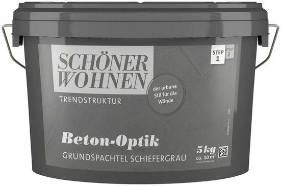 SCHÖNER WOHNEN FARBE Spachtelmasse »Beton-Optik Grundspachtel schiefergrau«, 5 kg