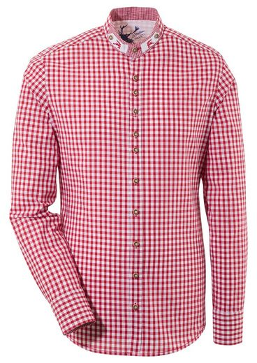 Schlussverkauf OS-Trachten Trachtenhemd mit Stehkragen