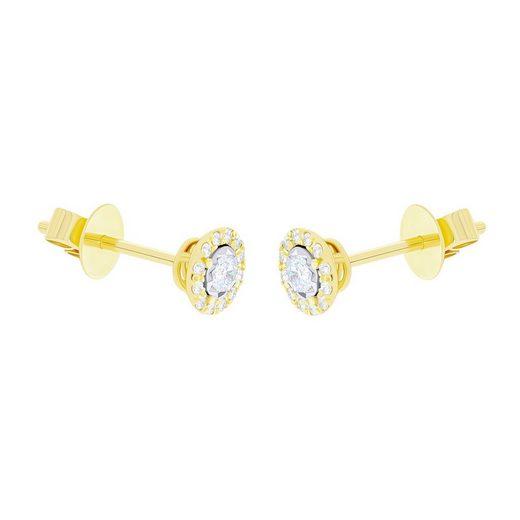 Stella-Jewellery Paar Ohrstecker »585er Gelbgold Diamanten zus. 0,17ct. Ohrstecker«, Diamanten Solitaire Ohrringe Brilliant 18K