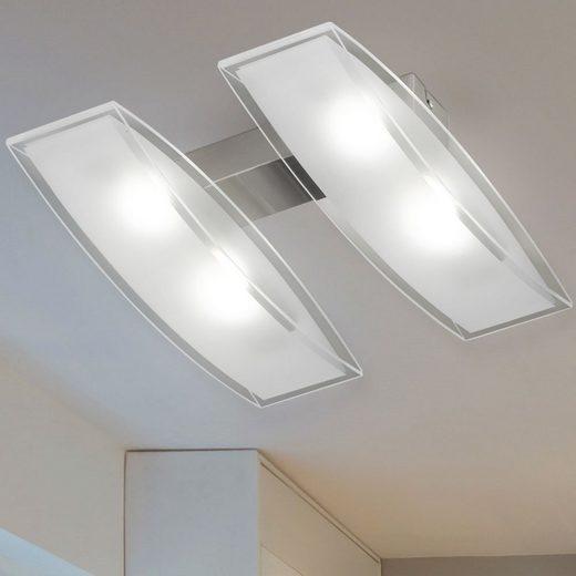 WOFI Deckenstrahler, Hochwertige LED Decken Leuchte Beleuchtung Glas opal Lampe energiesparend WOFI 9194.04.64.0000