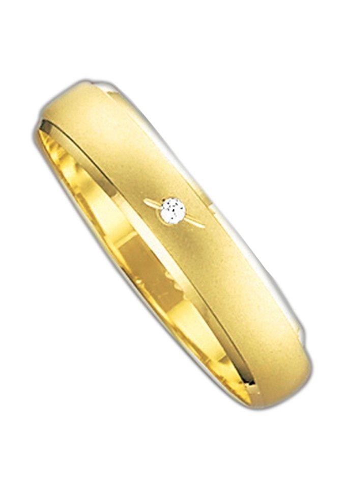 Herren Firetti Trauring mit Gravur Fein Sandmatt Diamantschnitt Made in Germany gold | 04007972099045