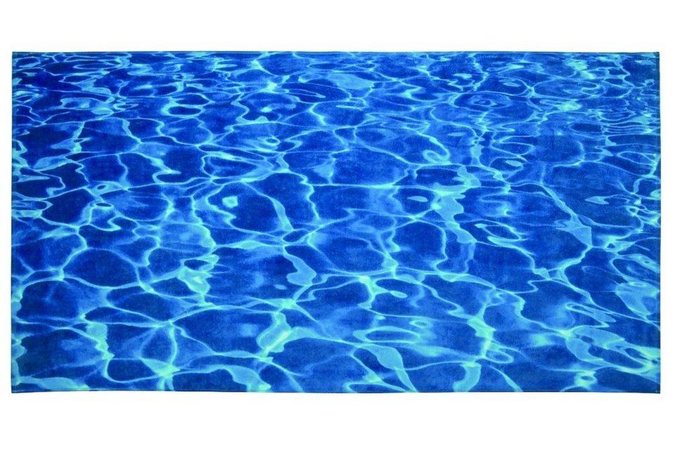 Strandtuch, Möve, »Wasser«, in kräftigem Blau in pool