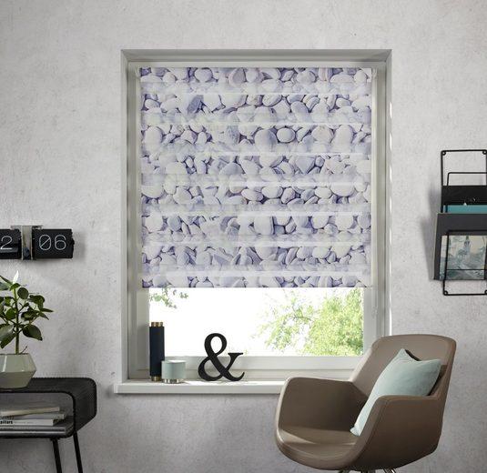 Doppelrollo »Steine«, my home, Lichtschutz, ohne Bohren, freihängend, im Fixmaß