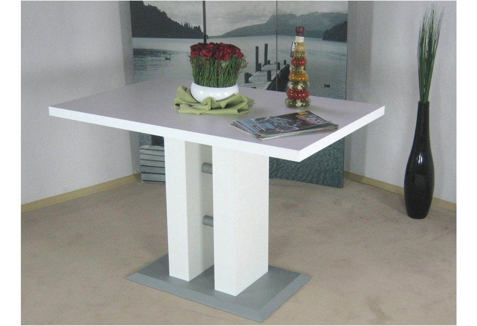 Säulen-Esstisch in weiß