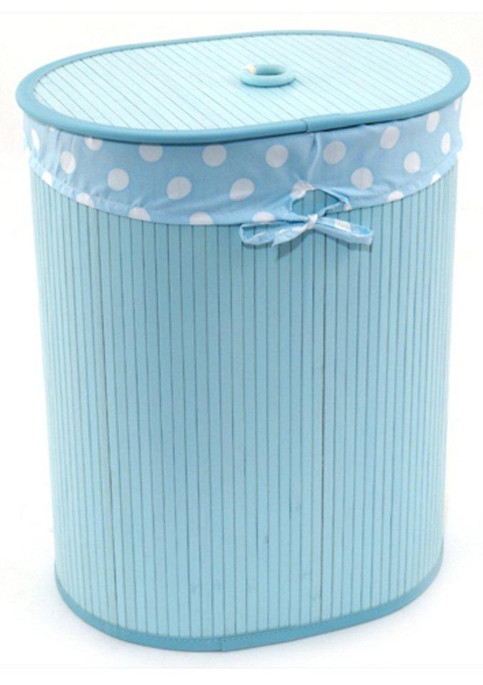 Wäschebehälter oval, Franz Müller Flechtwaren in blau
