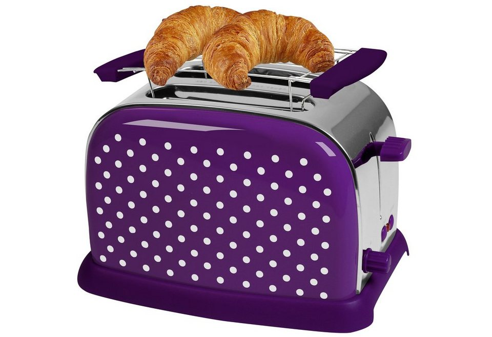TEAM KALORIK Toaster »TKG TO 1008 PWD«, mit Brötchenaufsatz und Defrosterstufe. 950 Watt in lila