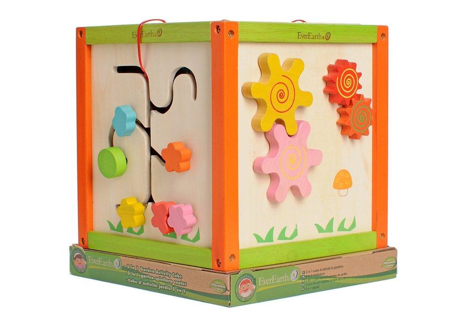 Spielcenter aus Holz, EverEarth®, 5-in-1 Garten-Spiel-Würfel in natur