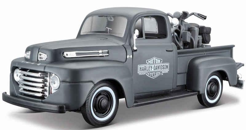 Maisto® Sammlerauto »Ford F1 ´48«, Maßstab 1:24, inklusive Harley-Davidson WLA Flathead