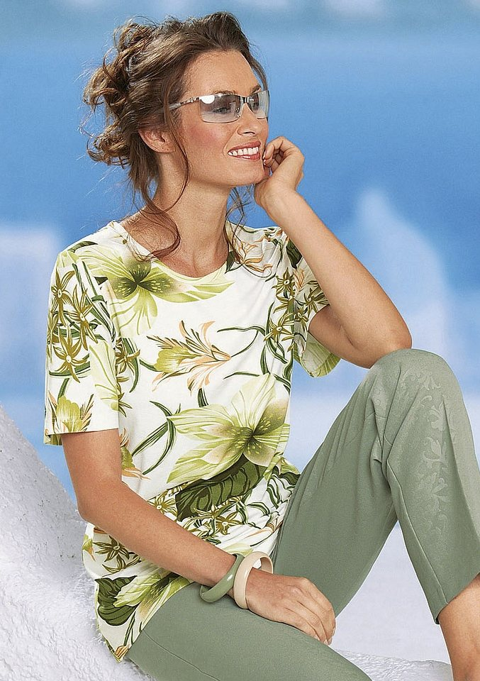 Classic Basics Shirt mit Rundhals-Ausschnitt in schilf-bedruckt