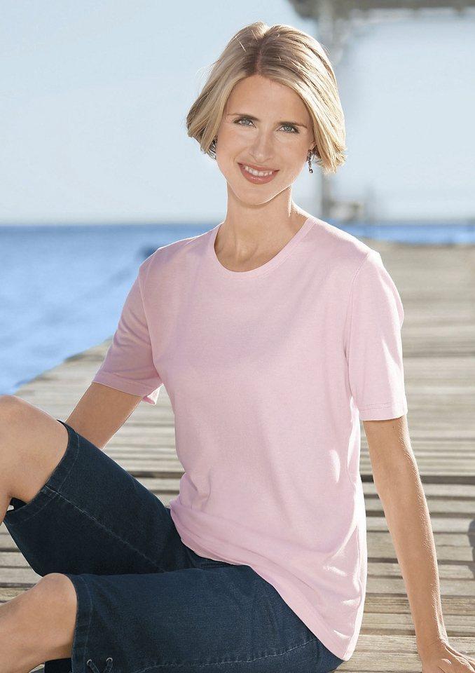 Classic Basics Shirt mit Rundhals-Ausschnitt in rosé