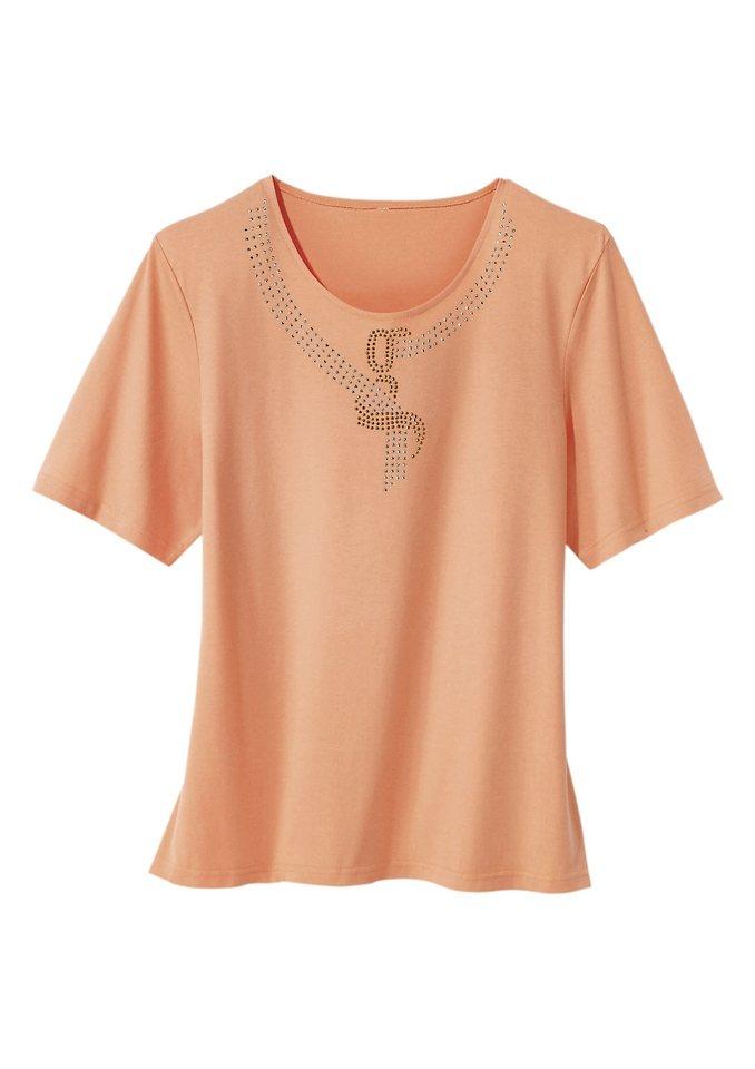 Shirt mit farblich abgestimmter Steinchen-Verzierung in mango