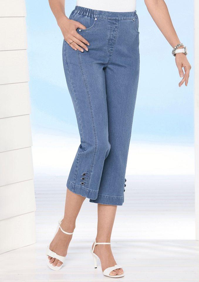 7/8-Jeans mit Dekoschlaufen und Zierknöpfe am Beinabschluss in blue-bleached