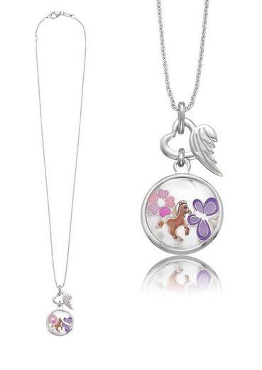 Herzengel Kette mit Anhänger »Schmetterling, Pferd, Blume als Symbol für Freude, HEN-GLAS-JOY«, mit Glaslinse und Emaille