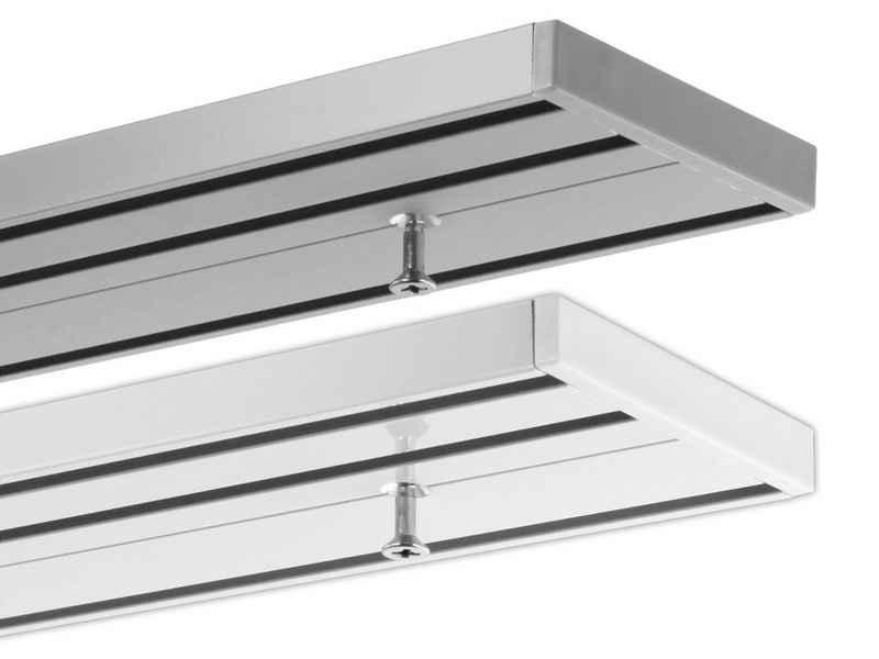 Gardinenschiene »Schienensystem Objektschiene, 3-läufig, vorgebohrt, ab 2 m mittig geteilt«, Gardineum, 3-läufig