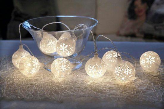 STAR TRADING LED-Lichterkette »LED-Lichterkette Schneeball - 10 warmweiße LED - Batteriebetrieb - Timer - 1,35m - weiß«, 10-flammig