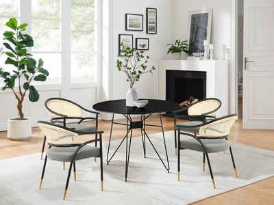 COUCH♥ Armlehnstuhl »Auf ins Geflecht«, Gepolsterte Sitzfläche, Rattan Einsätze, in 4 Farben erhältlich