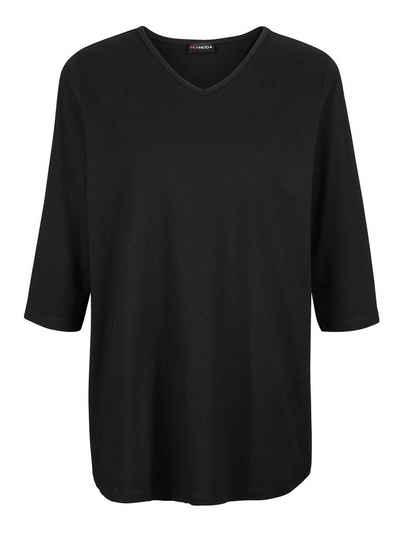 MIAMODA 3/4-Arm-Shirt mit streckendem V-Ausschnitt