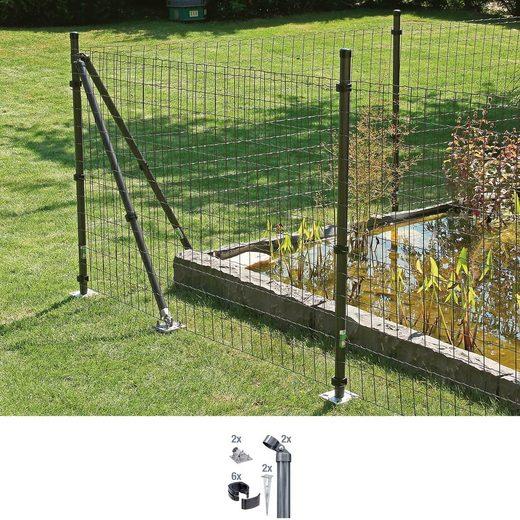 GAH Alberts Eckpfosten »Fix-Clip Pro®«, (Set), für Maschendrahthöhe 153 cm, zum Aufschrauben